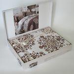 Комплект постельного белья Bahar Oscar Евро Ранфорс коричневый (200-50) в Симферополе