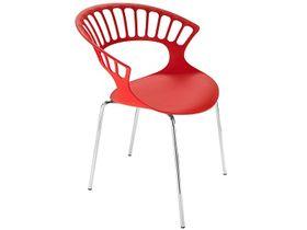 Кресло Papatya Tiara красное р-4, хром. ножки в Симферополе