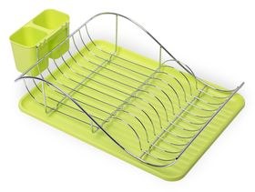 Сушилка для посуды Kamille 0761А 1-х ярусная 52x32x13см хром зеленый в Симферополе