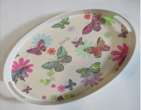 Поднос Albayrak 2250 / 241 меламин овальный 45х30х4 бабочка в Симферополе