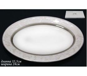 Блюдо Lenardi 125-138 овал Серый шелк 35,5см в Симферополе