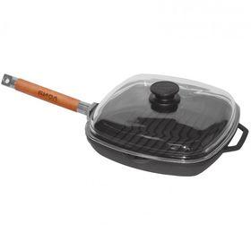 Сковорода Биол 1026С чугунная гриль съемная ручка стекл. крышка 26х26 в Симферополе
