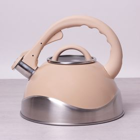Чайник Kamille 0686А со свистком 3л кремовый серый розовый в Симферополе