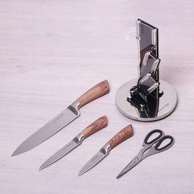Набор ножей Kamille 5049 3 ножа ножницы и подставка в Симферополе