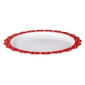 Блюдо Альтернатива М5184 Горошек 37см бело-красный в Симферополе